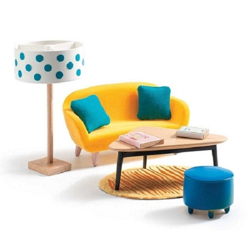 Djeco Modern Doll House Furniture Set- The Linving Room