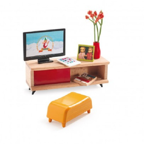 Djeco Modern Doll House Furniture The Tv Room Ebay